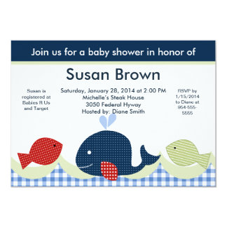 Jackson Whale/Sealife/Fish Baby Shower Invitation