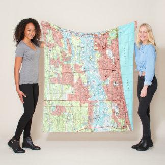 Jacksonville Beach and Atlantic Beach Florida Map Fleece Blanket