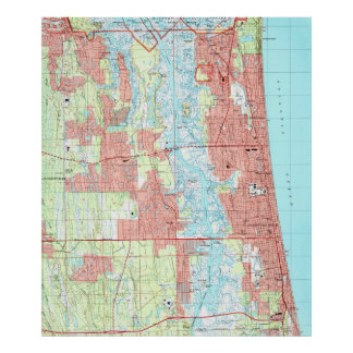 Jacksonville Beach and Atlantic Beach Florida Map Poster