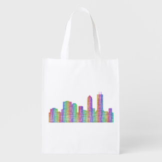 Jacksonville city skyline reusable grocery bag