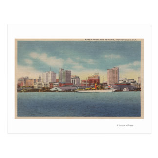 Jacksonville, FL - View of Water Front & Skyline Postcard