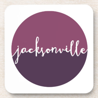 Jacksonville, Florida | Purple Ombre Circle Drink Coaster