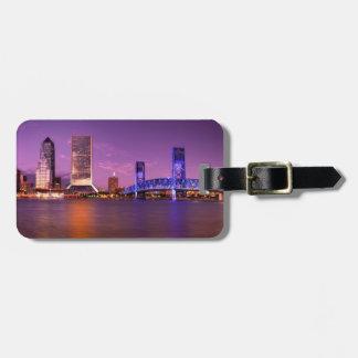 Jacksonville Florida Skyline at Night Luggage Tag