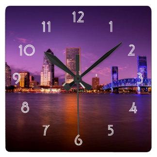 Jacksonville Florida Skyline at Night Wall Clocks