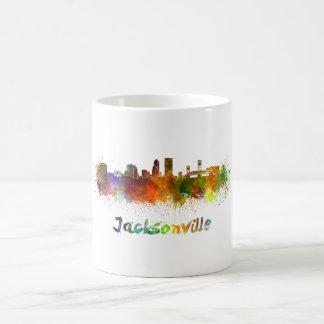 Jacksonville skyline in watercolor coffee mug