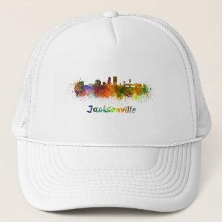 Jacksonville skyline in watercolor trucker hat