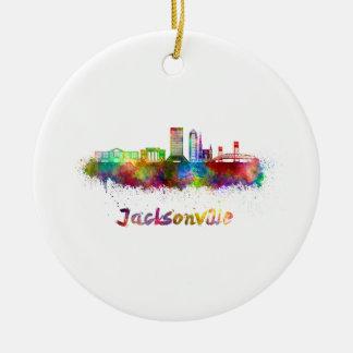 Jacksonville V2 skyline in watercolor Ceramic Ornament