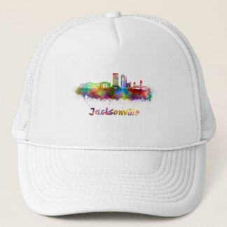 Jacksonville V2 skyline in watercolor Trucker Hat