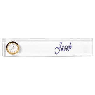 Jacob, Name, Logo, Desk Nameplate With Clock.