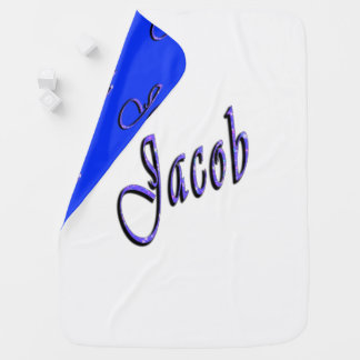 Jacob, Name, Logo, Snugly Reversible Baby Blanket. Baby Blanket