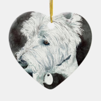 Jacob the Westie Ceramic Heart Ornament
