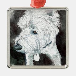 Jacob the Westie Silver-Colored Square Ornament