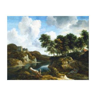 Jacob van Ruisdael River Landscape with a Castle Canvas Print