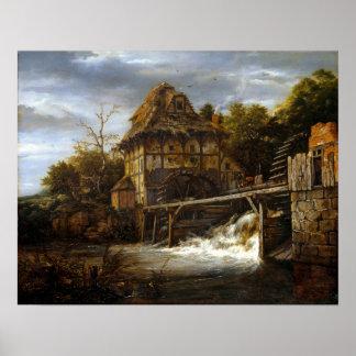 Jacob van Ruisdael Two Undershot Watermills Poster