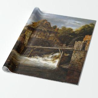 Jacob van Ruisdael Two Undershot Watermills Wrapping Paper