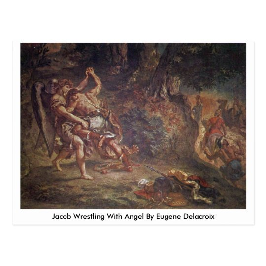 Jacob Wrestling With Angel By Eugene Delacroix Postcard