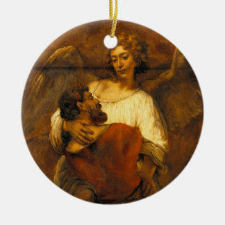 Jacob Wrestling with the Angel by Rembrandt Ceramic Ornament