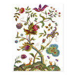 Jacobean Crewel Embroidery Tree of Life Postcards