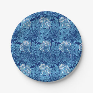 Jacobean Flower Damask, Cobalt and Light Blue 7 Inch Paper Plate