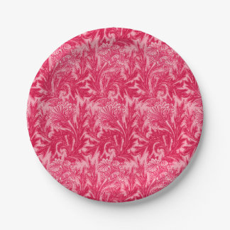 Jacobean Flower Damask, Fuchsia and Light Pink Paper Plate