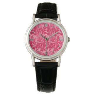 Jacobean Flower Damask, Fuchsia and Light Pink Watch