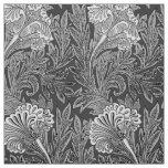 Jacobean Flower Damask, Grey / Grey and White Fabric