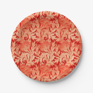 Jacobean Flower Damask, Mandarin and Light Orange Paper Plate