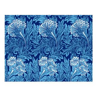Jacobean Flower Damask, Navy, Sky Blue and White Postcard