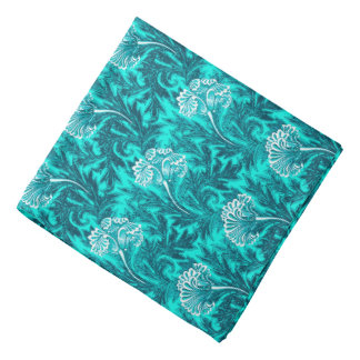 Jacobean Flower Damask, Turquoise and Teal Blue Bandana