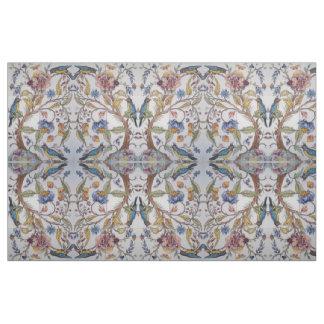 Jacobean Tile Design Bird Floral Soft Color Fabric