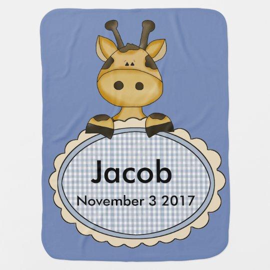 Jacob's Personalized Giraffe Stroller Blanket
