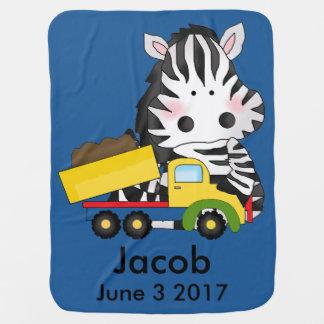 Jacob's Personalized Zebra Baby Blanket