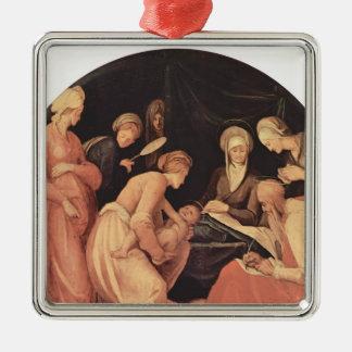 Jacopo Pontormo- Birth of John the Baptist Silver-Colored Square Ornament