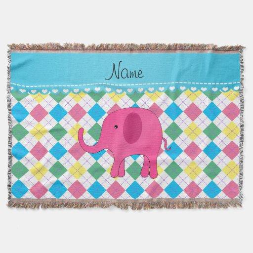 Jacquard coloré nommé personnalisé d'éléphant rose couvre pied de lit