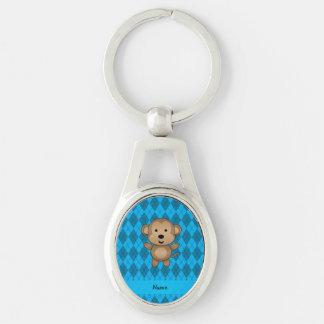 Jacquard nommé personnalisé de bleu de singe porte-clefs