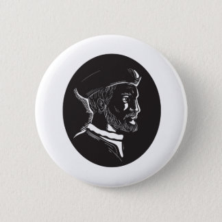 Jacques Cartier French Explorer Oval Woodcut 2 Inch Round Button