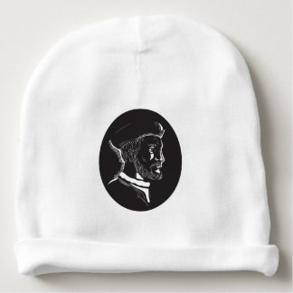 Jacques Cartier French Explorer Oval Woodcut Baby Beanie