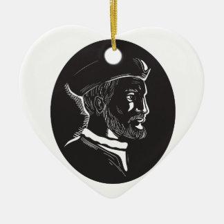 Jacques Cartier French Explorer Oval Woodcut Ceramic Heart Ornament