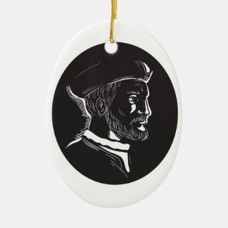 Jacques Cartier French Explorer Oval Woodcut Ceramic Oval Ornament