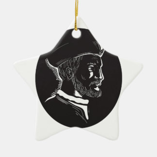 Jacques Cartier French Explorer Oval Woodcut Ceramic Star Ornament