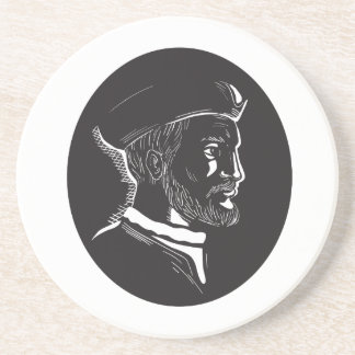 Jacques Cartier French Explorer Oval Woodcut Coaster