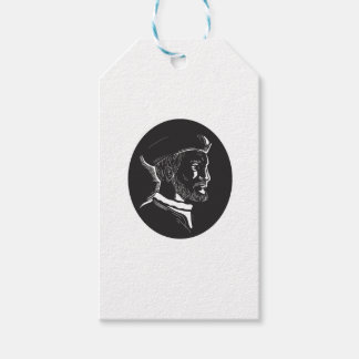 Jacques Cartier French Explorer Oval Woodcut Gift Tags