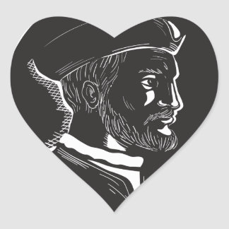 Jacques Cartier French Explorer Oval Woodcut Heart Sticker