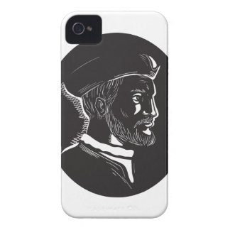 Jacques Cartier French Explorer Oval Woodcut iPhone 4 Case-Mate Cases