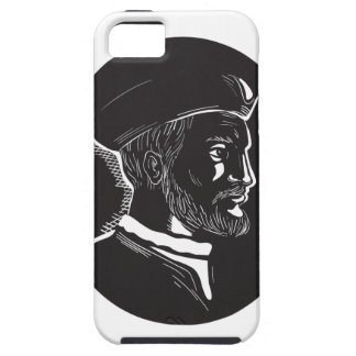 Jacques Cartier French Explorer Oval Woodcut iPhone 5 Covers