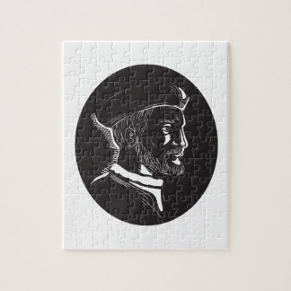 Jacques Cartier French Explorer Oval Woodcut Jigsaw Puzzle