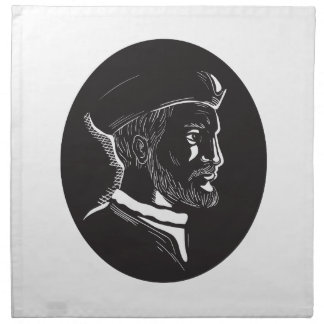 Jacques Cartier French Explorer Oval Woodcut Napkin