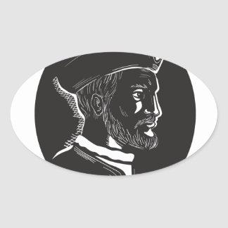 Jacques Cartier French Explorer Oval Woodcut Oval Sticker