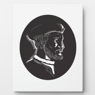 Jacques Cartier French Explorer Oval Woodcut Plaque
