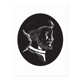 Jacques Cartier French Explorer Oval Woodcut Postcard